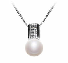 Alina White 8-9mm AAA Quality Freshwater 925 Sterling Silver Cultured Pearl Pendant