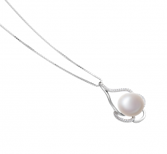 Alyssa White 12-13mm AA Quality Freshwater 925 Sterling Silver Cultured Pearl Pendant