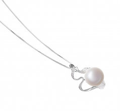 Oceane White 12-13mm AA Quality Freshwater 925 Sterling Silver Cultured Pearl Pendant