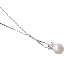 Crown White 8-9mm AAA Quality Freshwater 925 Sterling Silver Cultured Pearl Pendant