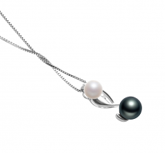 Bailey White and Black 5-8mm AAAA Quality Freshwater 925 Sterling Silver Cultured Pearl Pendant