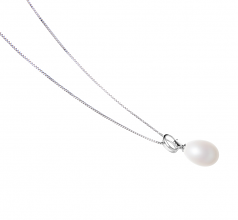 Denise White 10-11mm AA - Drop Quality Freshwater 925 Sterling Silver Cultured Pearl Pendant