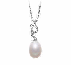 Benita White 10-11mm AA - Drop Quality Freshwater 925 Sterling Silver Cultured Pearl Pendant