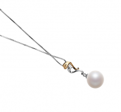 Brianna White 10-11mm AAAA Quality Freshwater 925 Sterling Silver Cultured Pearl Pendant