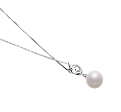 Linda White 10-11mm AAAA Quality Freshwater 925 Sterling Silver Cultured Pearl Pendant