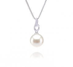 Courtney White 9-10mm AAAA Quality Freshwater 925 Sterling Silver Cultured Pearl Pendant