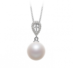 Regina White 10-11mm AAAA Quality Freshwater 925 Sterling Silver Cultured Pearl Pendant