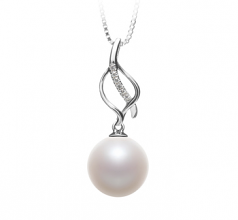 Leah White 10-11mm AAAA Quality Freshwater 925 Sterling Silver Cultured Pearl Pendant