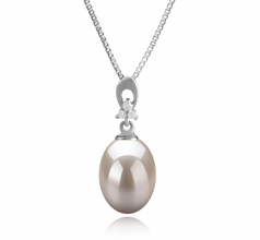 Bambie White 9-10mm AAA Quality Freshwater 925 Sterling Silver Cultured Pearl Pendant