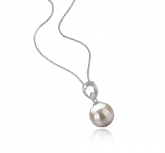 Emilia White 10-11mm AAAA Quality Freshwater 925 Sterling Silver Cultured Pearl Pendant