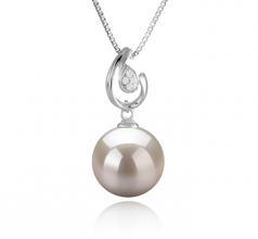 Femke White 10-11mm AAAA Quality Freshwater 925 Sterling Silver Cultured Pearl Pendant