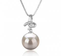 Maude White 10-11mm AAAA Quality Freshwater 925 Sterling Silver Cultured Pearl Pendant