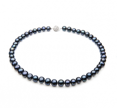 Single Black 7-8mm A Quality Freshwater 925 Sterling Silver Cultured Pearl Necklace