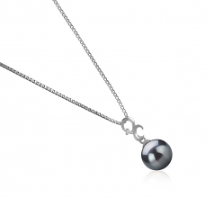 Kacey Black 8-9mm AA Quality Japanese Akoya 925 Sterling Silver Cultured Pearl Pendant
