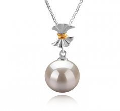 Belva White 9-10mm AAAA Quality Freshwater 925 Sterling Silver Cultured Pearl Pendant