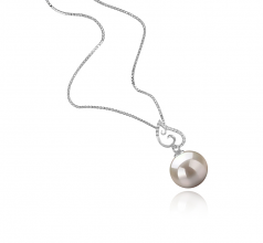 Belinda White 10-11mm AAAA Quality Freshwater 925 Sterling Silver Cultured Pearl Pendant
