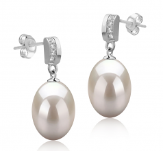 Karley White 9-10mm AAA Quality Freshwater 925 Sterling Silver Cultured Pearl Earring Pair