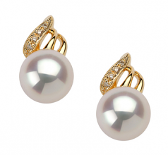 Anastasia White 8-9mm AAA Quality Japanese Akoya 14K Yellow Gold Cultured Pearl Earring Pair