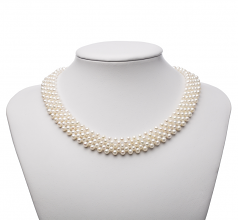 Five Row White 3-4mm Five Strand AA Quality Freshwater Cultured Pearl Necklace