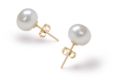 White 7-8mm AAA Quality Freshwater Cultured Pearl Earring Pair