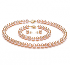 Pink 7-8mm AAA Quality Freshwater Gold filled Cultured Pearl Set