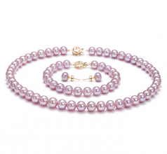 Lavender 7.5-8mm AAA Quality Freshwater Gold filled Cultured Pearl Set