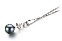 Greta Black 6-7mm AA Quality Japanese Akoya 14K White Gold Cultured Pearl Pendant