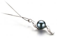 Elva Black 7-8mm AA Quality Japanese Akoya 14K White Gold Cultured Pearl Pendant