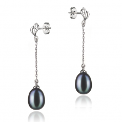 Reese Black 7-8mm AA Quality Freshwater 925 Sterling Silver Cultured Pearl Earring Pair