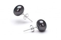Black 7-8mm AAA Quality Freshwater Cultured Pearl Earring Pair