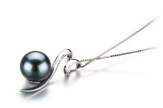 Dionne Black 8-9mm AA Quality Japanese Akoya 14K White Gold Cultured Pearl Pendant