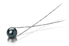 Kristine Black 7-8mm AAA Quality Japanese Akoya 14K White Gold Cultured Pearl Pendant