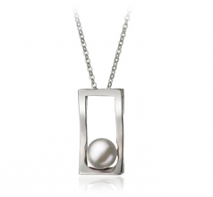 Athena White 7-8mm AA Quality Freshwater White Bronze Cultured Pearl Pendant