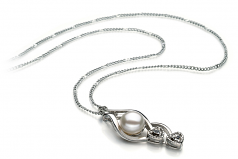 Eudora White 7-8mm AA Quality Freshwater White Bronze Cultured Pearl Pendant