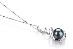 Eldova Black 8-9mm AAA Quality Japanese Akoya 14K White Gold Cultured Pearl Pendant