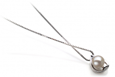 Amanda White 6-7mm AAAA Quality Freshwater 925 Sterling Silver Cultured Pearl Pendant