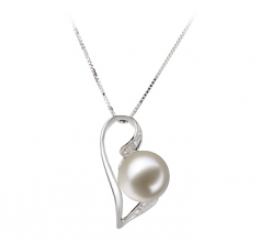 Carlin White 7-8mm AAAA Quality Freshwater 14K White Gold Cultured Pearl Pendant