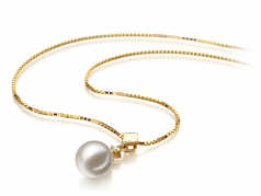 Georgia White 7-8mm AAAA Quality Freshwater 14K Yellow Gold Cultured Pearl Pendant