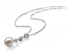 Rozene White 9-10mm AAAA Quality Freshwater 14K White Gold Cultured Pearl Pendant