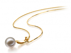 Sora White 9-10mm AAAA Quality Freshwater 14K Yellow Gold Cultured Pearl Pendant