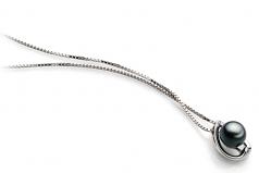 Amanda Black 6-7mm AA Quality Japanese Akoya 925 Sterling Silver Cultured Pearl Pendant