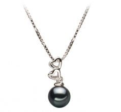 Amber Black 6-7mm AA Quality Japanese Akoya 925 Sterling Silver Cultured Pearl Pendant