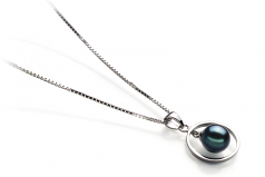 Trinity Black 6-7mm AA Quality Japanese Akoya 925 Sterling Silver Cultured Pearl Pendant
