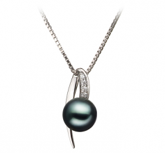 Destina Black 7-8mm AA Quality Japanese Akoya 925 Sterling Silver Cultured Pearl Pendant