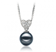 Randy Black 7-8mm AA Quality Japanese Akoya 925 Sterling Silver Cultured Pearl Pendant