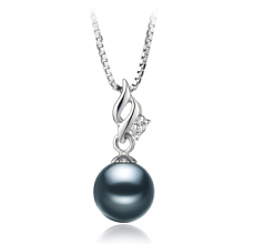 Zalina Black 7-8mm AA Quality Japanese Akoya 925 Sterling Silver Cultured Pearl Pendant