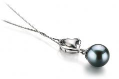 Cora Black 8-9mm AA Quality Japanese Akoya 14K White Gold Cultured Pearl Pendant