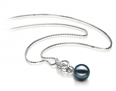 Naomi Black 8-9mm AA Quality Japanese Akoya 925 Sterling Silver Cultured Pearl Pendant