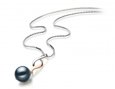 Pennie Black 8-9mm AA Quality Japanese Akoya 925 Sterling Silver Cultured Pearl Pendant