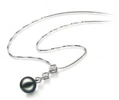 Rozene Black 8-9mm AAA Quality Japanese Akoya 14K White Gold Cultured Pearl Pendant